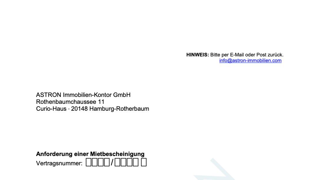 ASTRON Immobilien-Kontor Hamburg - Formularvorlage Mietbescheinigung