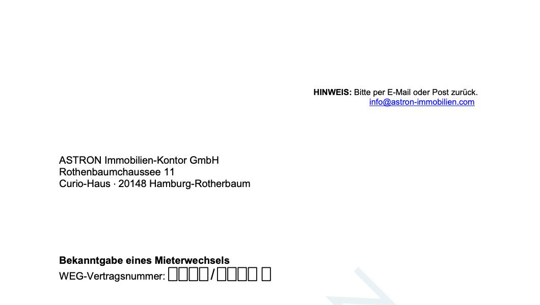 ASTRON Immobilien-Kontor Hamburg - Formularvorlage Bekanntgabe Mieterwechsel