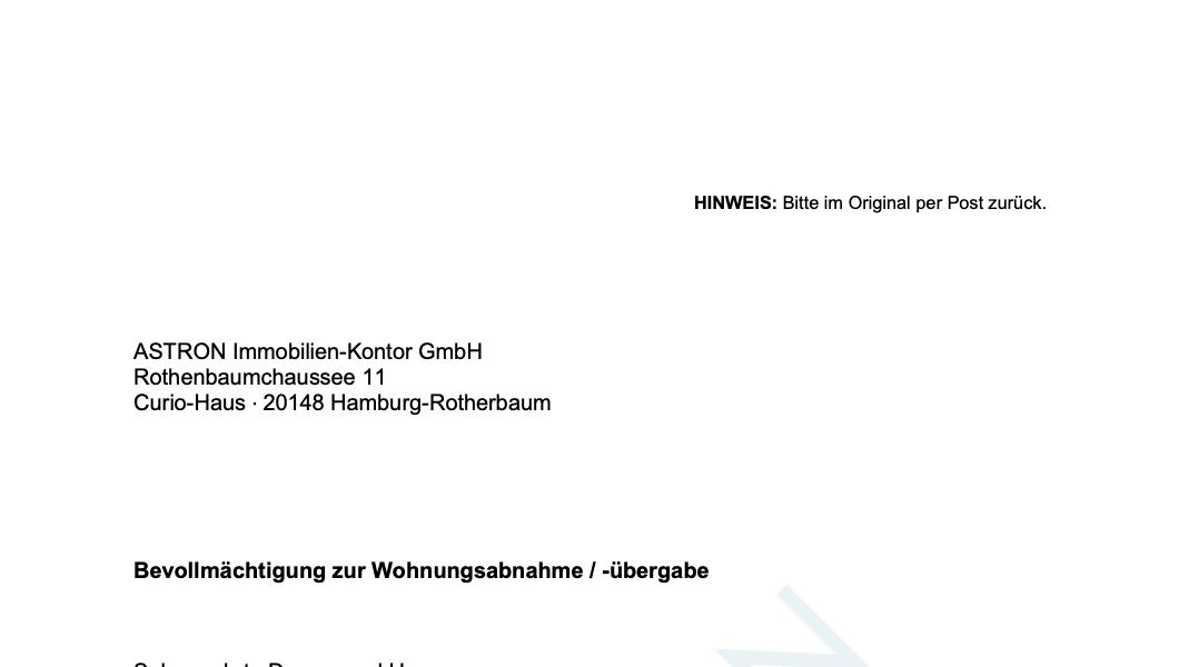 ASTRON Immobilien-Kontor Hamburg - Formularvorlage Vollmacht Wohnungsabnahme / -übergabe