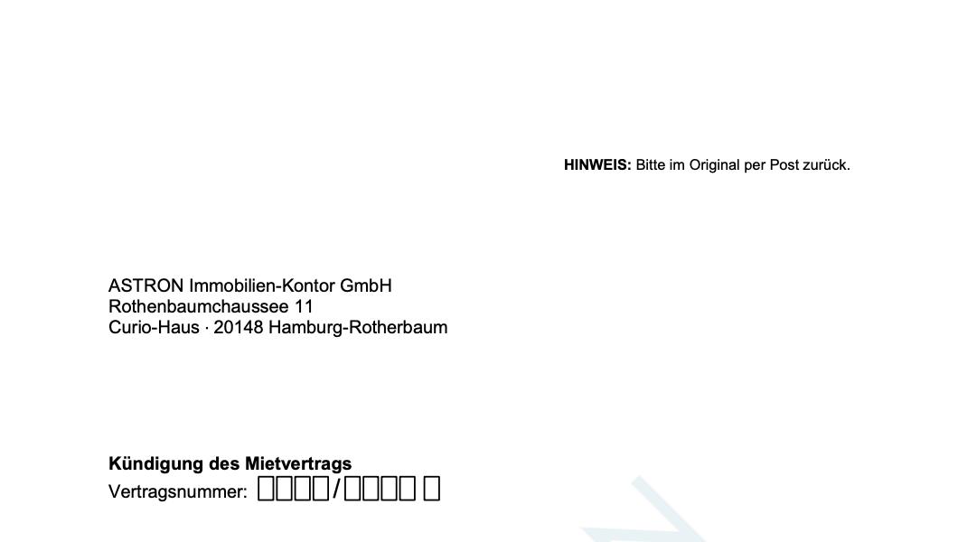 ASTRON Immobilien-Kontor Hamburg - Formularvorlage Kündigung Mietvertrag