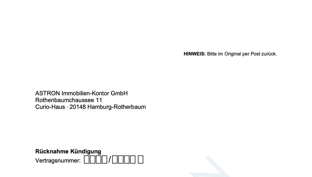 ASTRON Immobilien-Kontor Hamburg - Formularvorlage Rücknahme Kündigung
