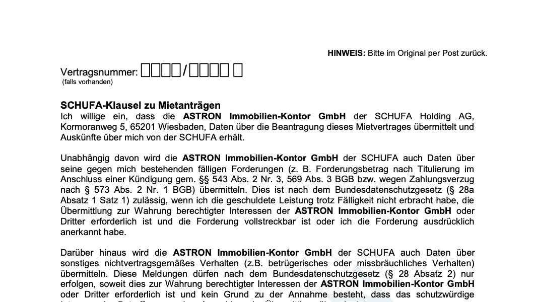 ASTRON Immobilien-Kontor Hamburg - Formularvorlage SCHUFA