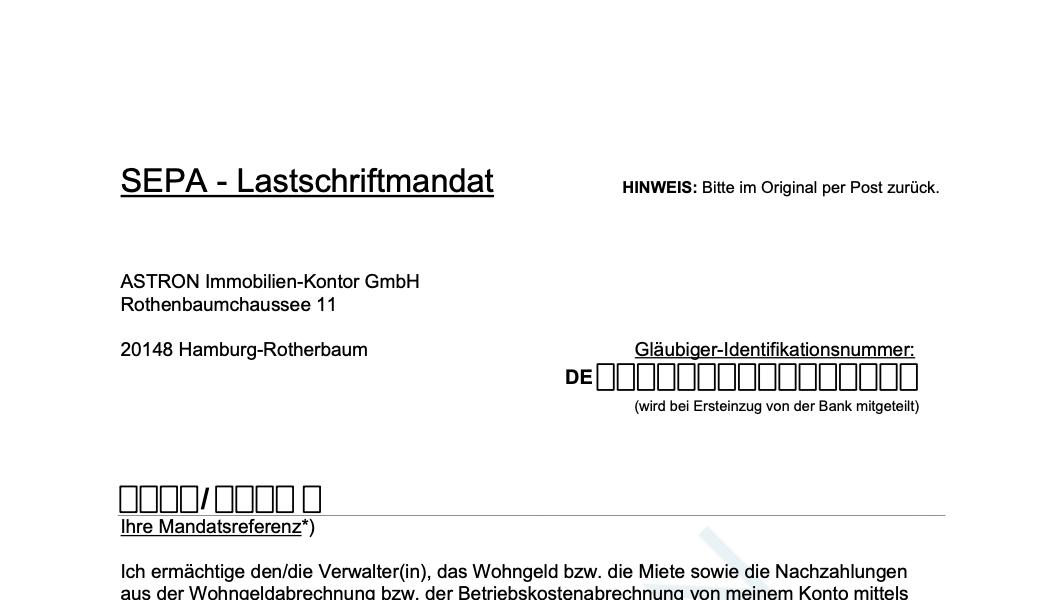 ASTRON Immobilien-Kontor Hamburg - Formularvorlage SEPA