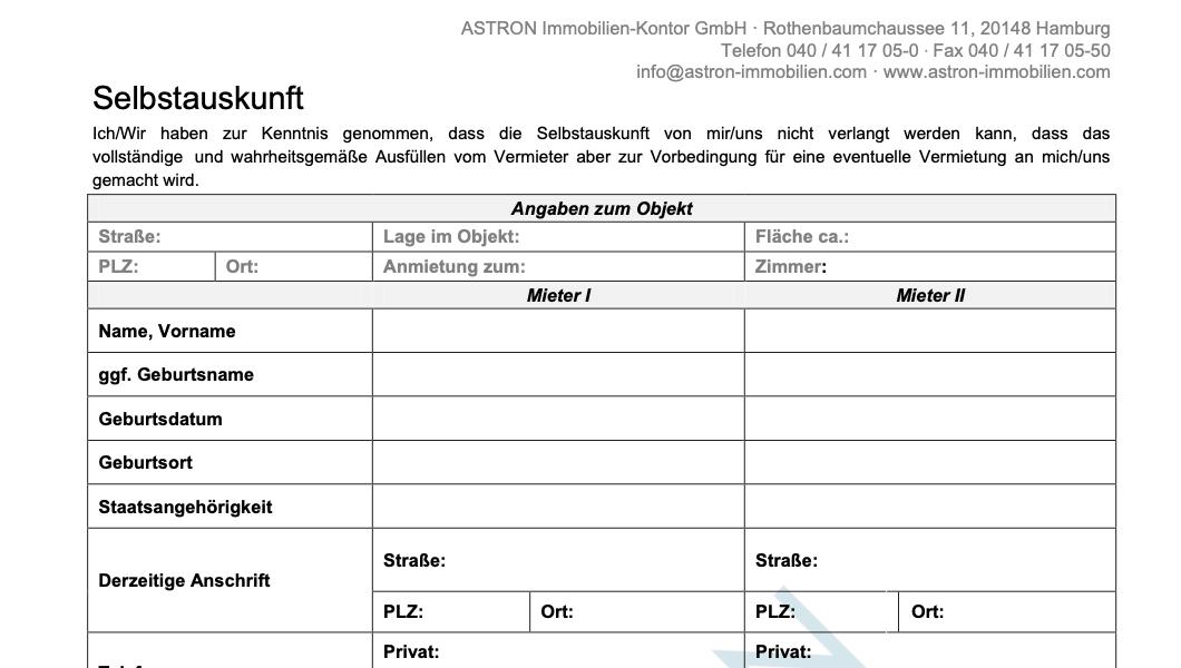 ASTRON Immobilien-Kontor Hamburg - Formularvorlage Selbstauskunft