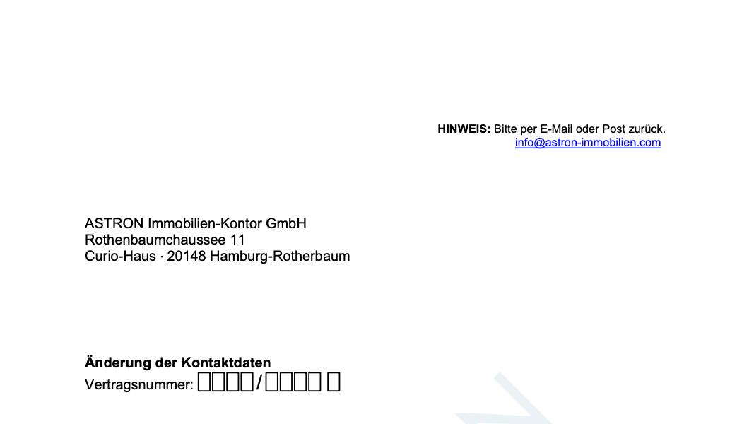 ASTRON Immobilien-Kontor Hamburg - Formularvorlage Änderung Kontaktdaten