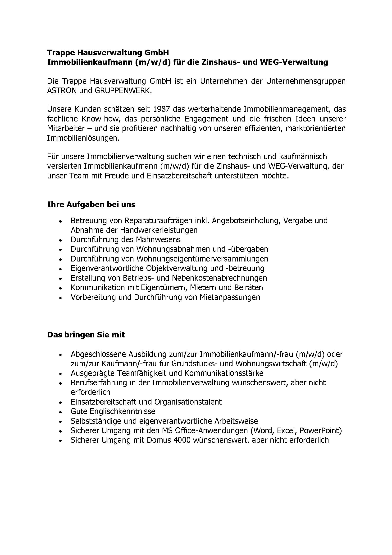 ASTRON Immobilien-Kontor Hamburg - Stellenausschreibung Zinshaus und WEG-Verwalter